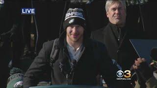 Carson Wentz Speaks At Super Bowl Championship Ceremony