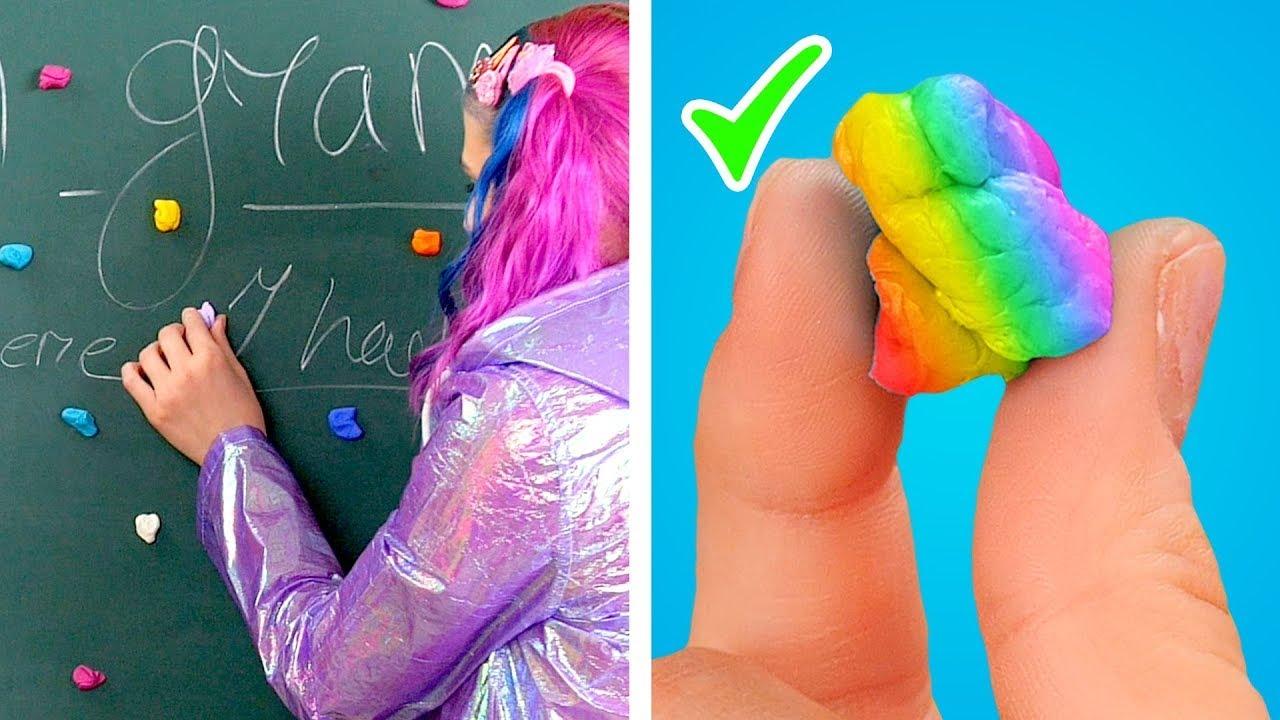 FUN RAINBOW SCHOOL SUPPLIES! Clever Rainbow DIY Ideas & Best School Supply Tricks by Hungry Panda