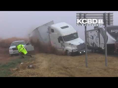 SEMI CRASHES  FLIPS BY TROOPERS STRONG VIDEO - CNN / KCBD