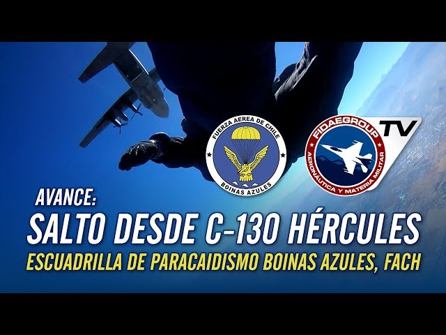 Salto desde Hércules C-130H , Escuadrilla de Paracaidismo Boinas Azules de la Fuerza Aérea de Chile