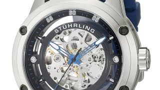Stuhrling Original Men's 314R.3316C51 Automatic Skeleton Sport Watch with Rubber Strap Se