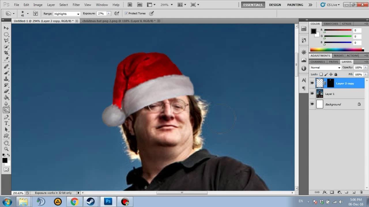 Photoshop - Put a christmas hat on Gaben - YouTube