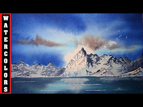 HOW TO PAINT MOUNTAINS SKY AND SEA IN A WINTER NORWEGIAN FJORD