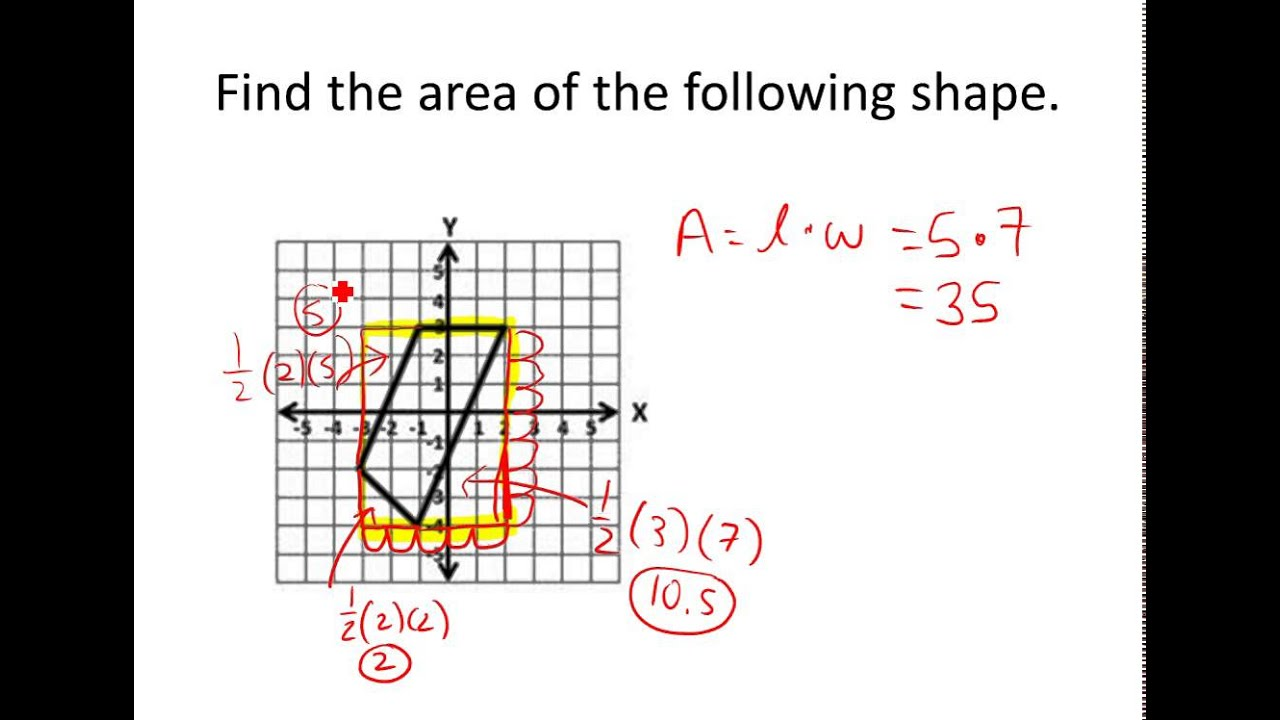 Finding Area of Shapes on A Coordinate Plane  YouTube