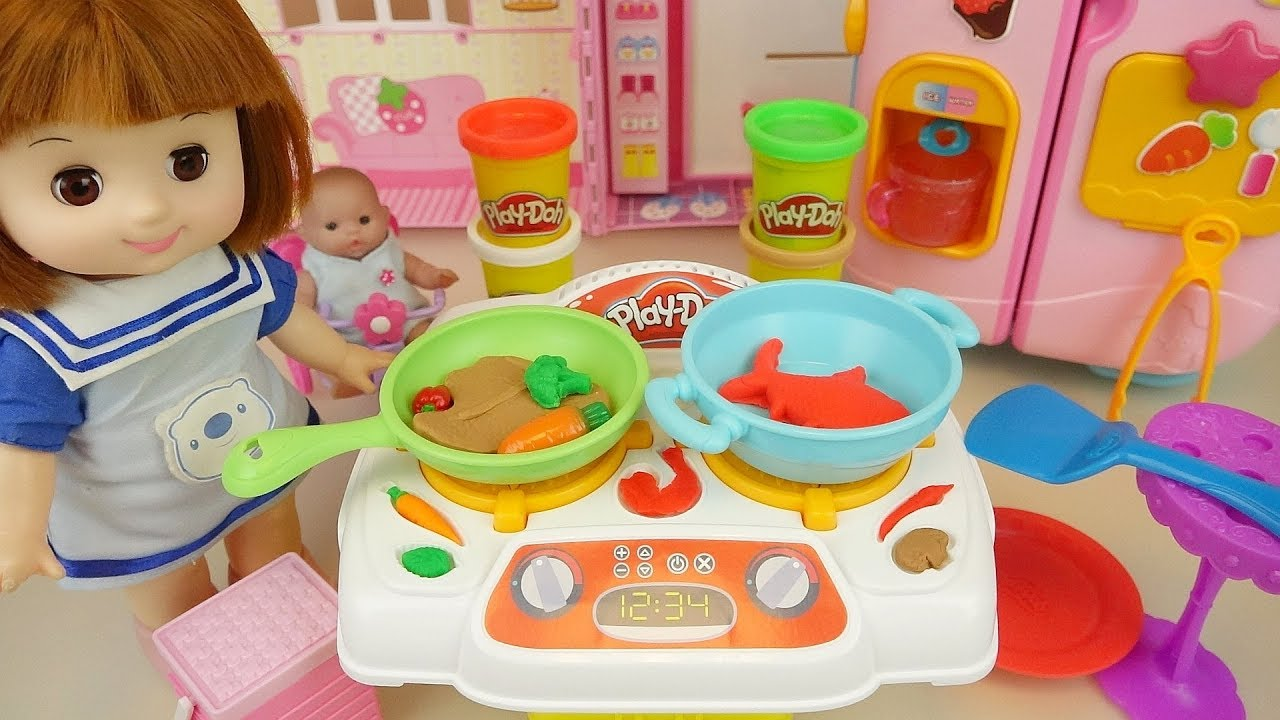 Baby Doli kitchen play doh cooking baby doll toy stories to learn - ToyPudding