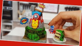 ASMR - Mini Avengers cake, Jenny's mini cooking, mini cake, tiny cake, Infinity war, real cake