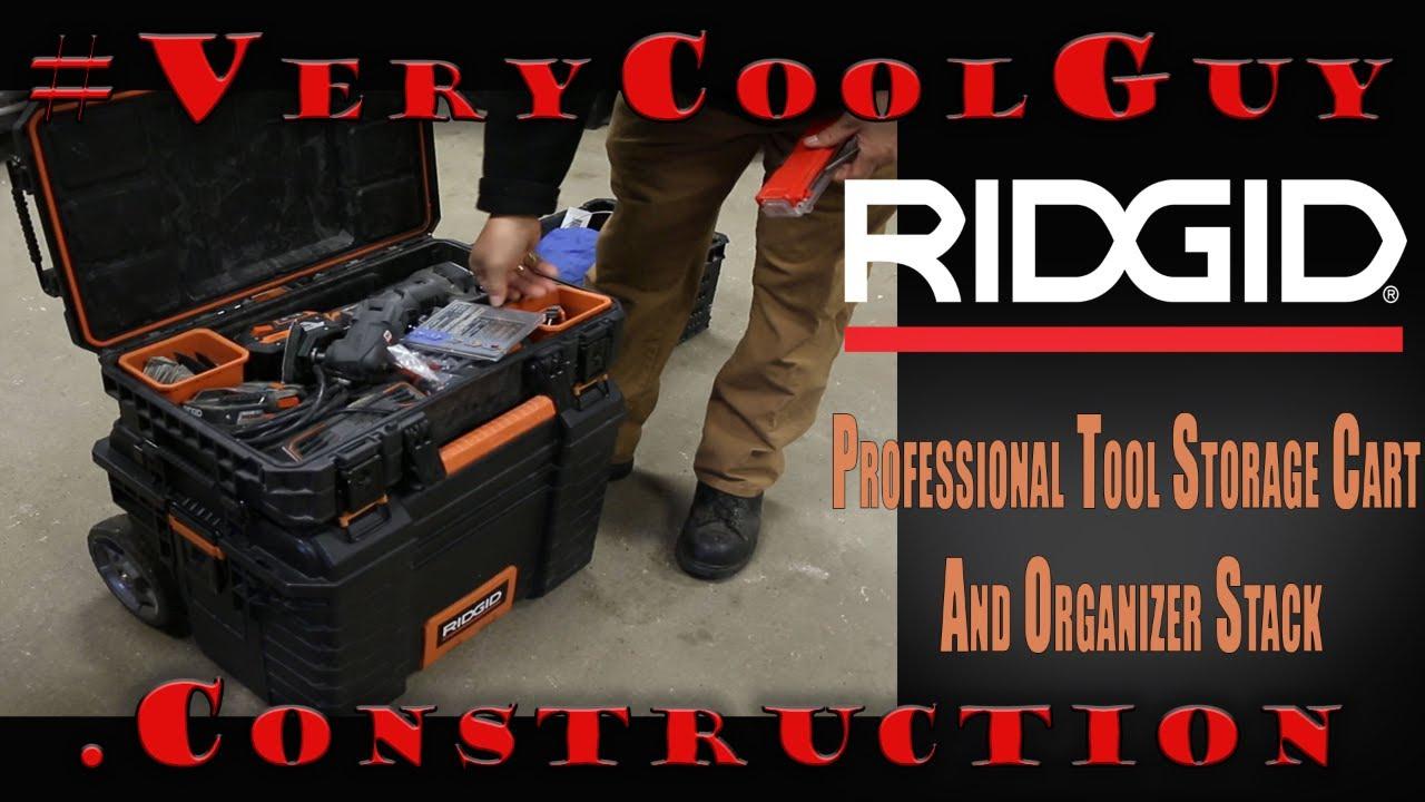 RIDGID Professional Tool Storage Cart And Organizer Stack & RIDGID Professional Tool Storage Cart And Organizer Stack - YouTube