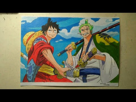 Drawing Luffy And Zoro Wano (One Piece)-Menggambar/Speed Drawing/ワンピース