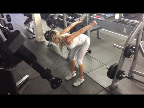 Bent over double cable triceps kick backs