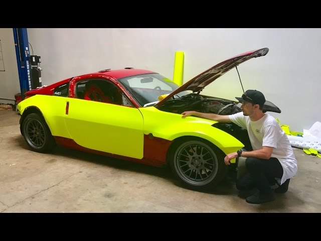 350Z WRAP REVEAL!! HIGHLIGHTER YELLOW