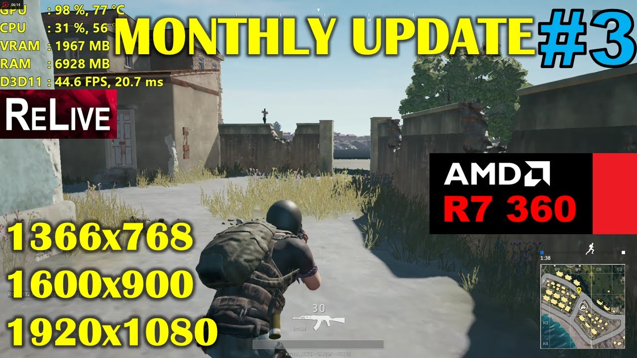 R7 360 | PlayerUnknown's Battlegrounds - Monthly Update 3 - 1080p, 900p,  768p