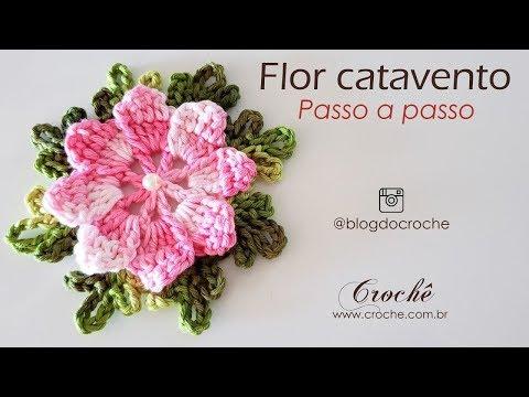Flor catavento de crochê com barbante - DIY fácil