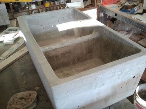 cement kitchen sink condo remodel concrete farm double mold youtube