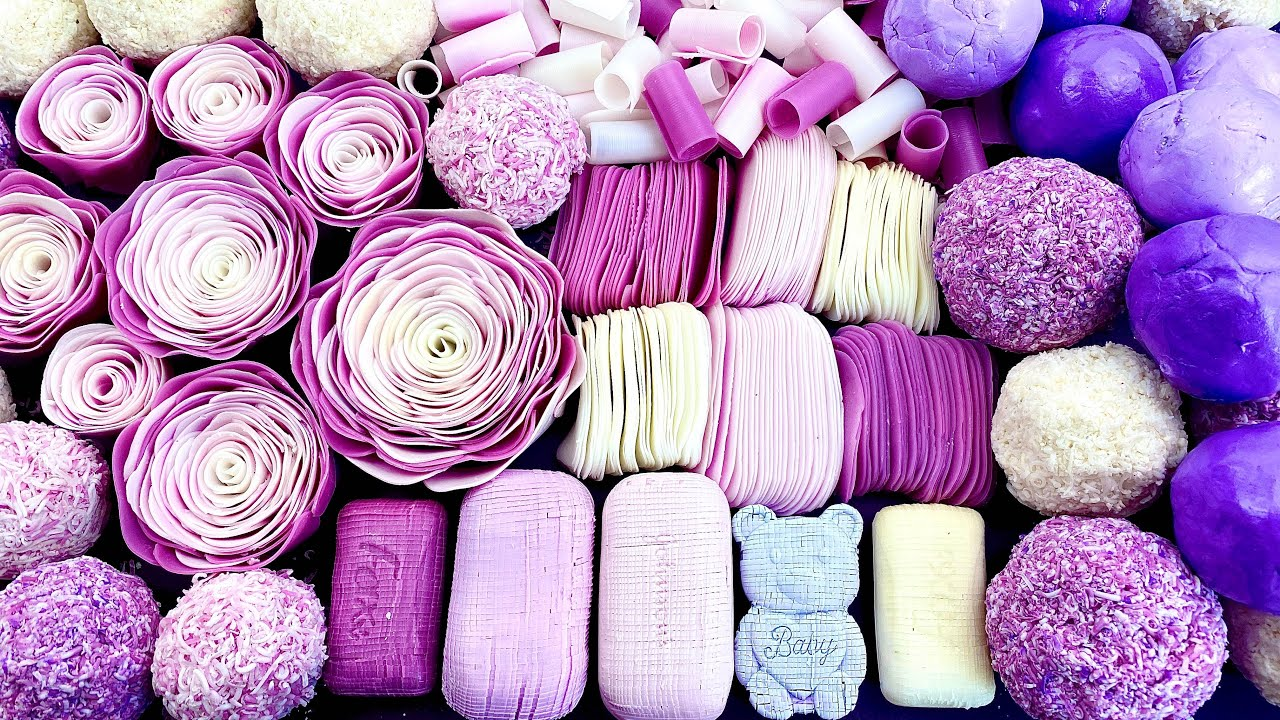 Clay cracking 💜 Soap cubes 🐻 soap roses 🌸 soap balls 💜 Carving ASMR ! Relaxing Sounds !