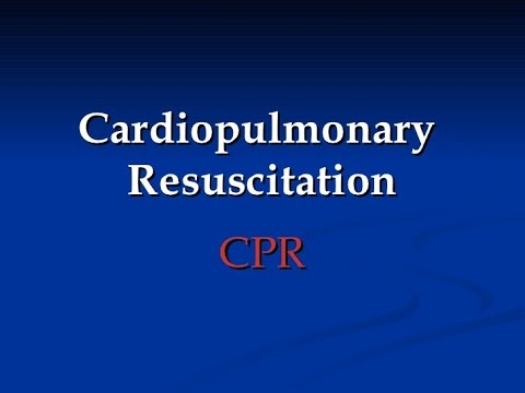 Cardiopulmonary resuscitation (CPR): First aid procedure