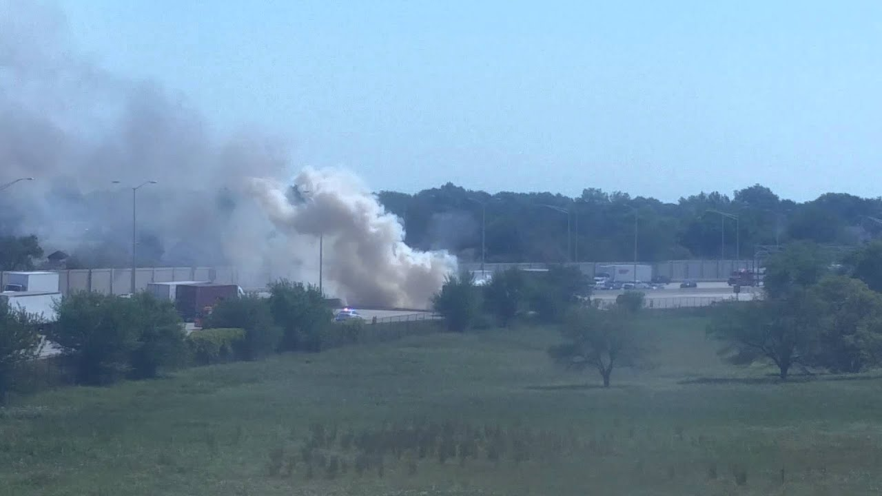 Semi Truck catches fire on 294 Highway Chicago