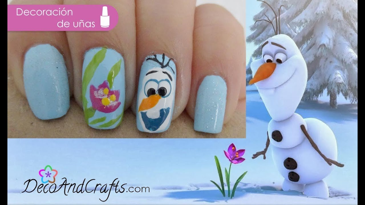 U as disney frozen para navidad olaf frozen nails youtube for Decoracion de unas de navidad