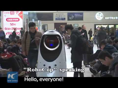 """RoboCop"" in real life! Patrol robot rolls in Chinese railway station"
