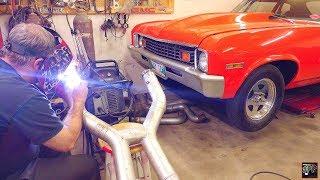 Twin Turbo LS Nova gets Custom Fabricated V Band Exhaust   Step by Step Fabrication Vlog