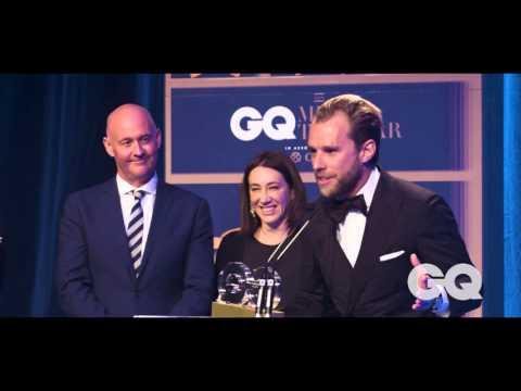 Vogue Editor-in-Chief Edwina McCann Presents Patrick Johnson With Designer Of The Year GQ MOTY Award
