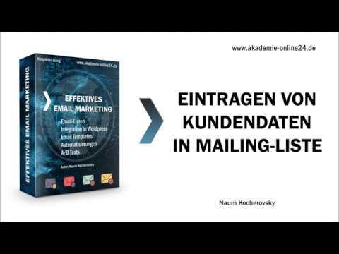 Eintragen von Kundendaten - Email Marketing Onlinekurs – Akademie Online24