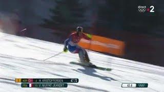 JO 2018 : Ski alpin - Slalom Hommes. Victor Muffat-Jeandet en feu lors de cette première manche