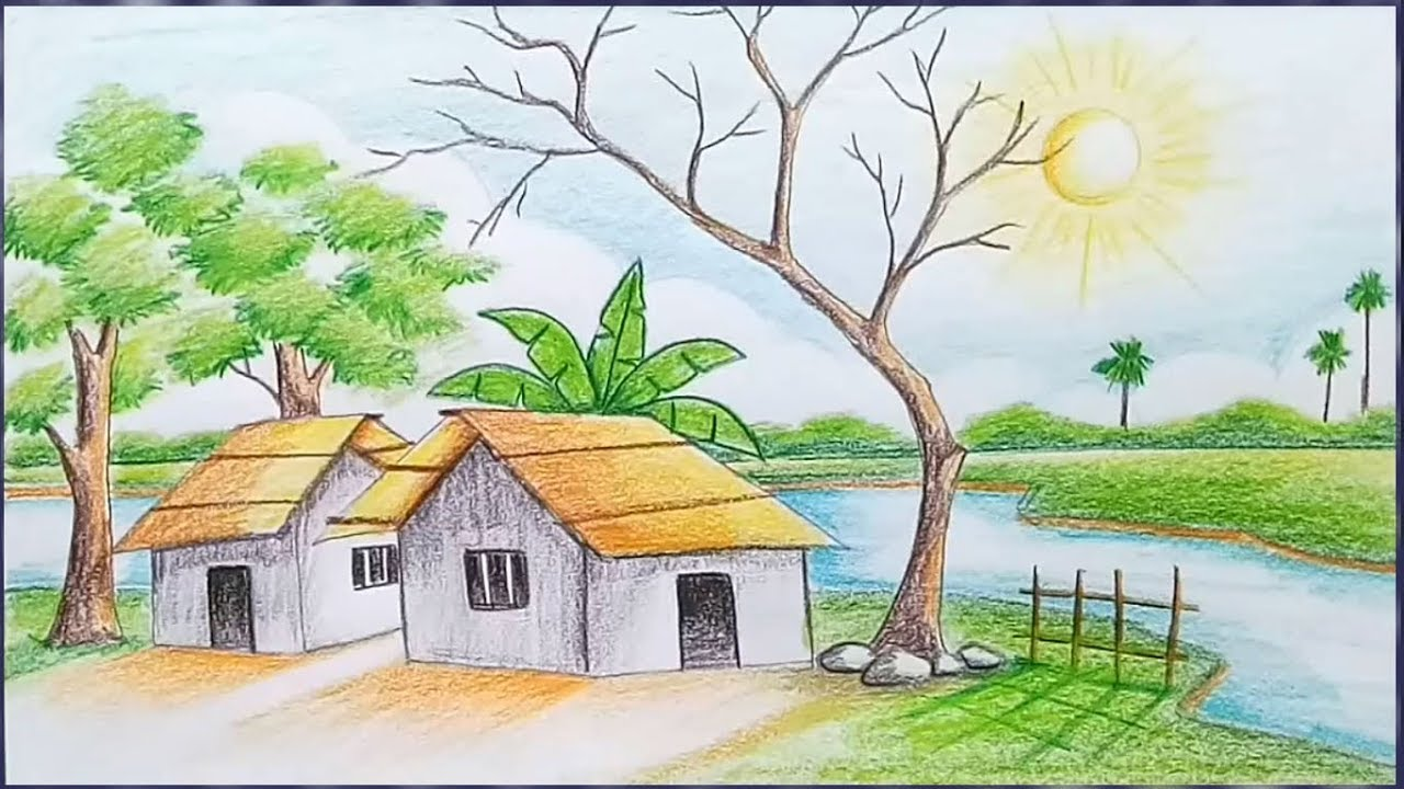 How To Draw A Village Scenery Step By Step Landscape Drawing