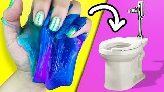 DIY SLIME in the Toilet *will it flush?*