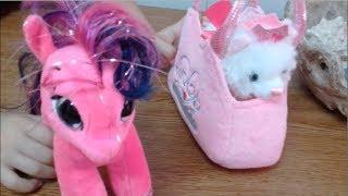 Мягкие игрушки розовый пони и котёнок в сумочке