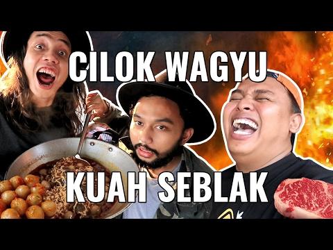CILOK WAGYU BUMBU SEBLAK+RENDANG+IGA PENYET!!! MAKANAN ABSURD | GERRY GIRIANZA ft. BLACK & PANJUL
