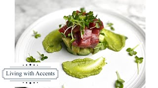 【Tuna Tower with Wasabi-Avocado Sauce】This elegant looking appetizer would wow your guests!