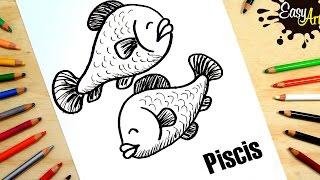 ZODIACO PISCIS│como dibujar  el signo Piscis │how to draw the sign of Pisces │Horoscopo