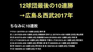 12球団最後の10連勝→広島&西武2017年 【プロ野球】
