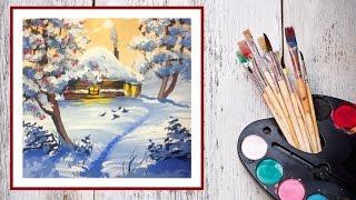 Видео урок Рисуем гуашью Зимнюю сказку