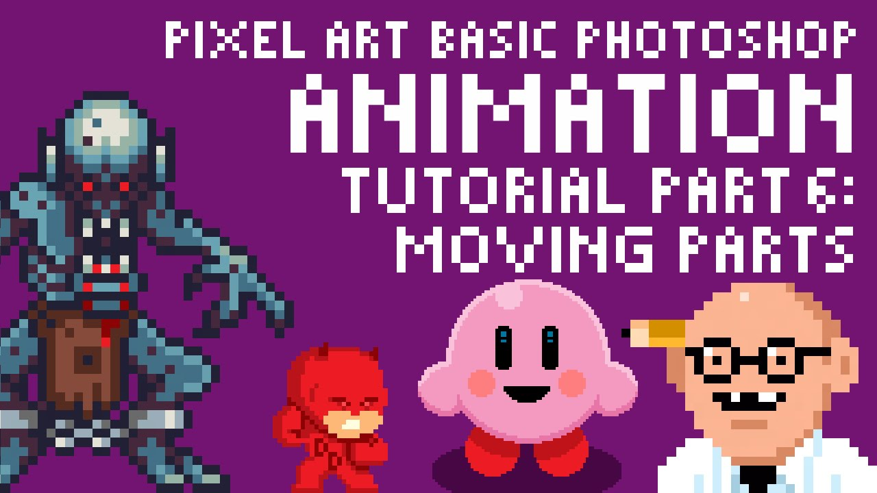 pixel art basic animation in photoshop tutorial part 6 moving parts