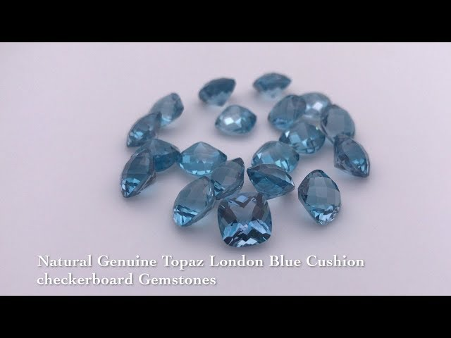 Natural Genuine Topaz London Blue Cushion checkerboard Gemstones wholesale