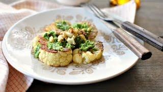 Roasted Cauliflower Steaks With Toasted Walnut + Parsley Pesto