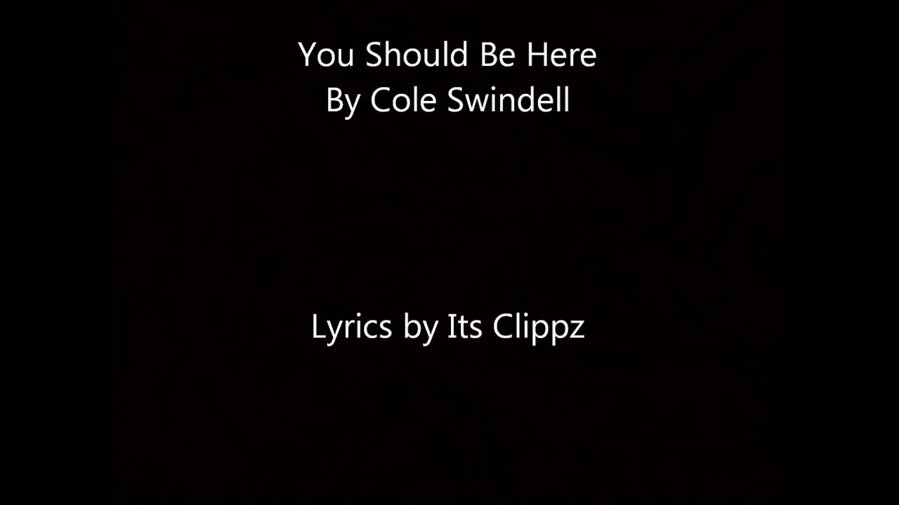 Cole Swindell You Should Be Here Lyrics