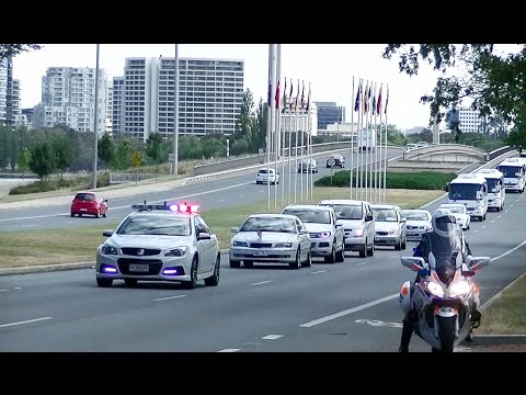 Motorcade of French President François Hollande in Canberra Australia