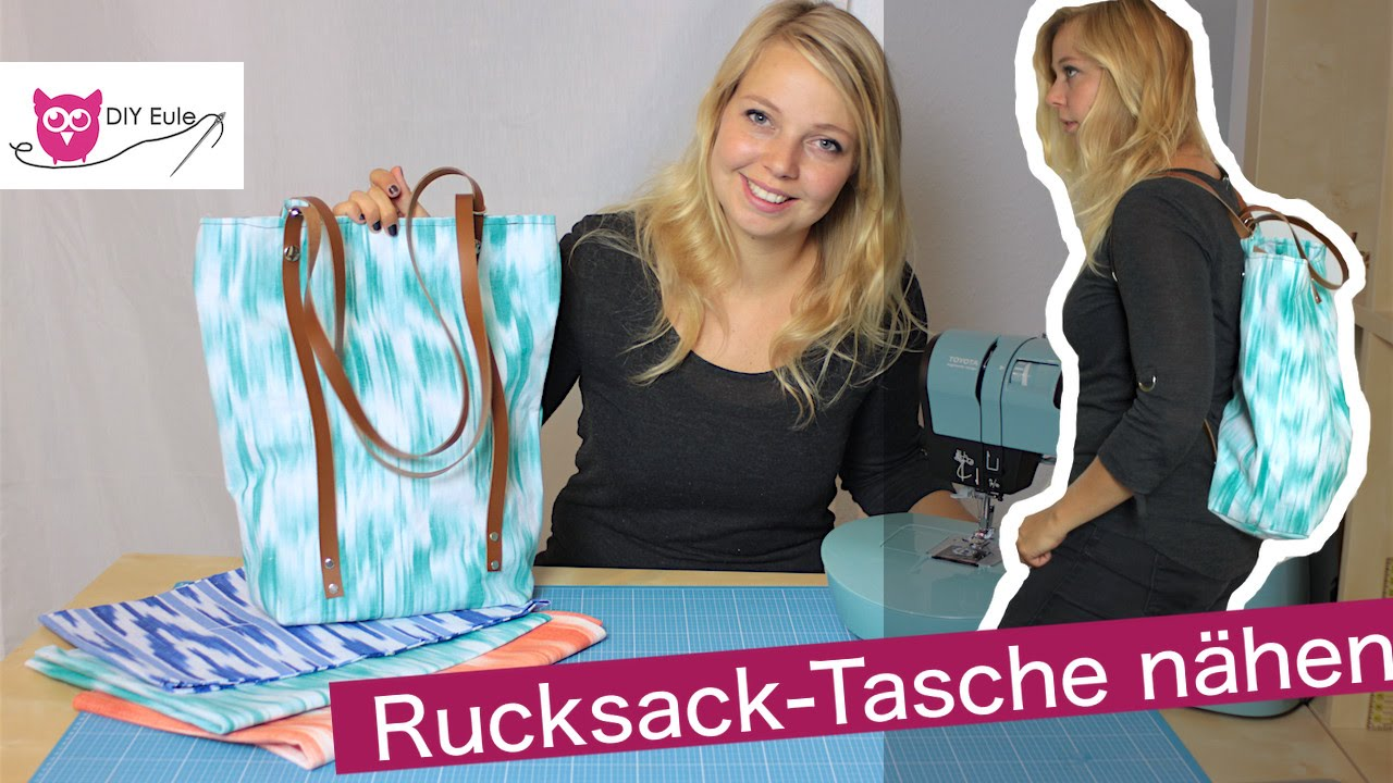 rucksack tasche mit lederriemen n hen diy eule youtube. Black Bedroom Furniture Sets. Home Design Ideas