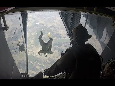 RECON Marines conduct HAHO day/night jump (High Altitude High Opening)