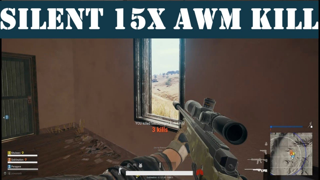 Suppressed AWM 15x Scope Hit and Kill - PUBG (Squad)