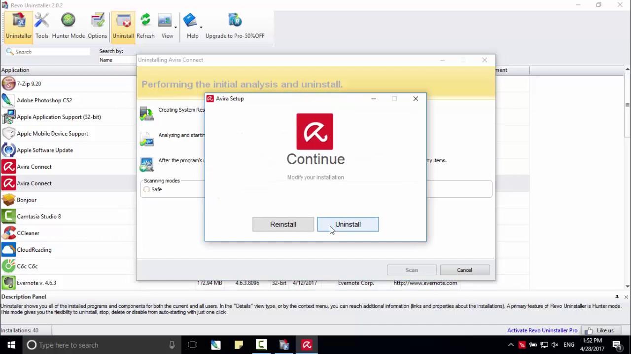Cách gỡ bỏ hoàn toàn phần mềm Avira Free Antivirus