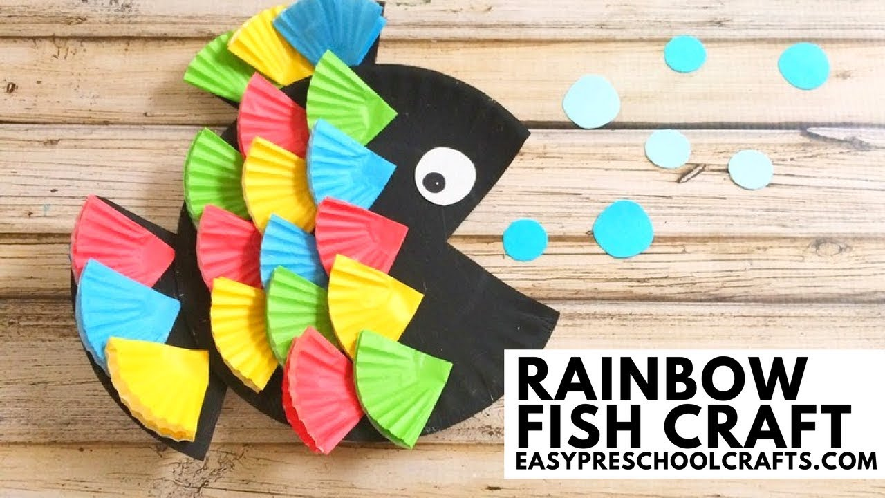 Easy Preschool Crafts Paper Plate Rainbow Fish Craft Youtube