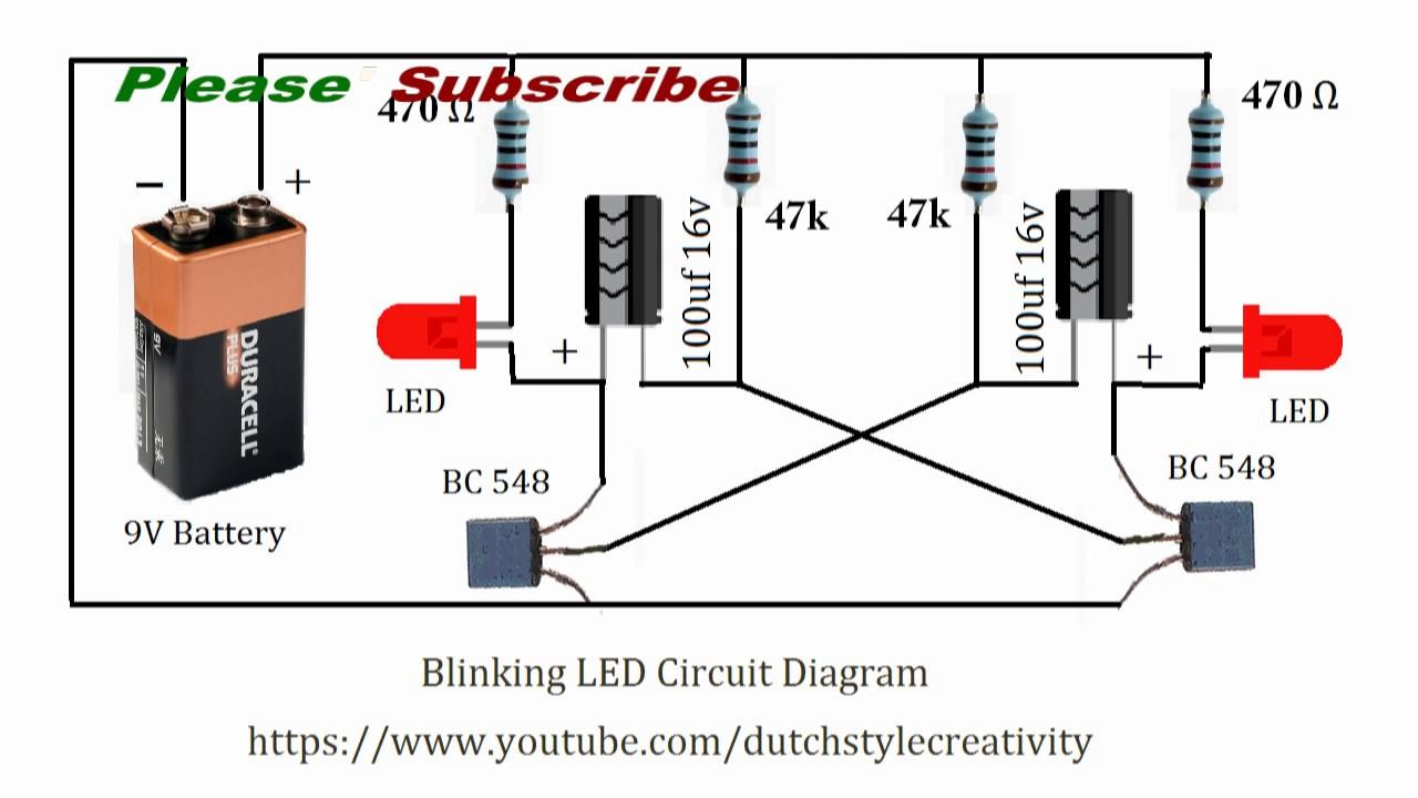 Learn How To Make Blinking Led Lights Circuit, Blink Led