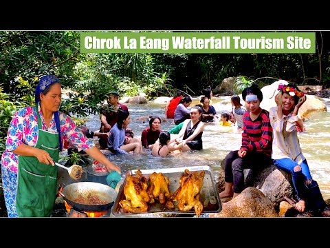 Relax at Chrok La Eang Waterfall Eco Tourism Site on the Cardamom Mountain Range in Pursat Province