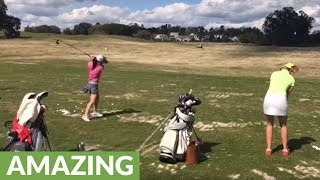 Incredible two part golf trick shot