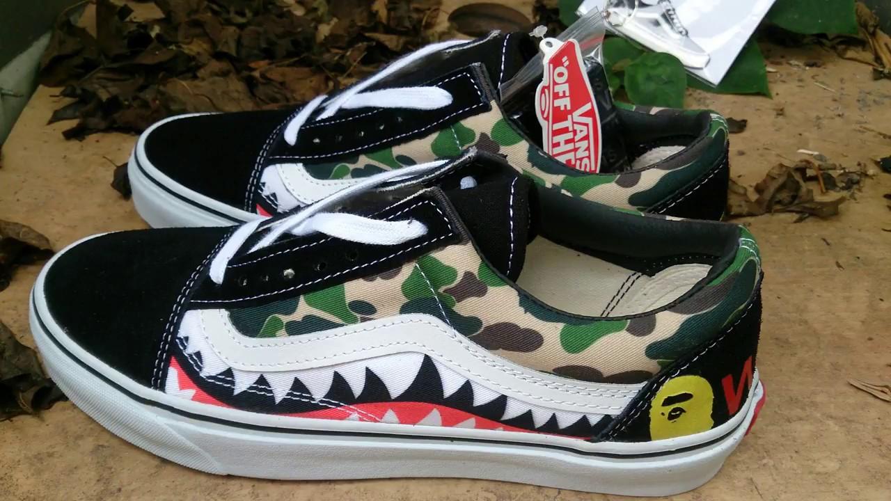 UNBOXING sepatu vans oldskool bape sharktooth camo replica premium INDONESIA 18f012a808