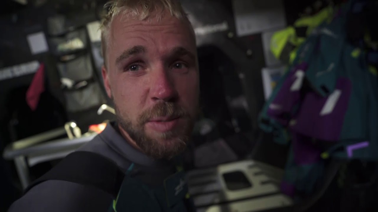 Charles, at nav station: In 30 hours we'll enter very strong conditions. Can't carry the fractional in those conditions, so will need to work out good sail combination. Goal is not to break the boat. A very tough leg. Strong wind, and full downwind with many gybes. I do have stress of course. Because you have the responsibility of the people and the boat. But you still want to fight for the first place. It's a balance between speed and safety. When we have 40 knots we know what sail to use. But then we have a gust to 55, and we have to react. But that's part of the Volvo Ocean Race. Horace talks below in Mandarin. Pascal, at nav station, talks in French while demonstrating something involving chart/routing software.