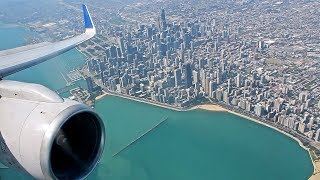 United Airlines B757-300 Arrival at Chicago O'Hare   Approach over City w/ Views